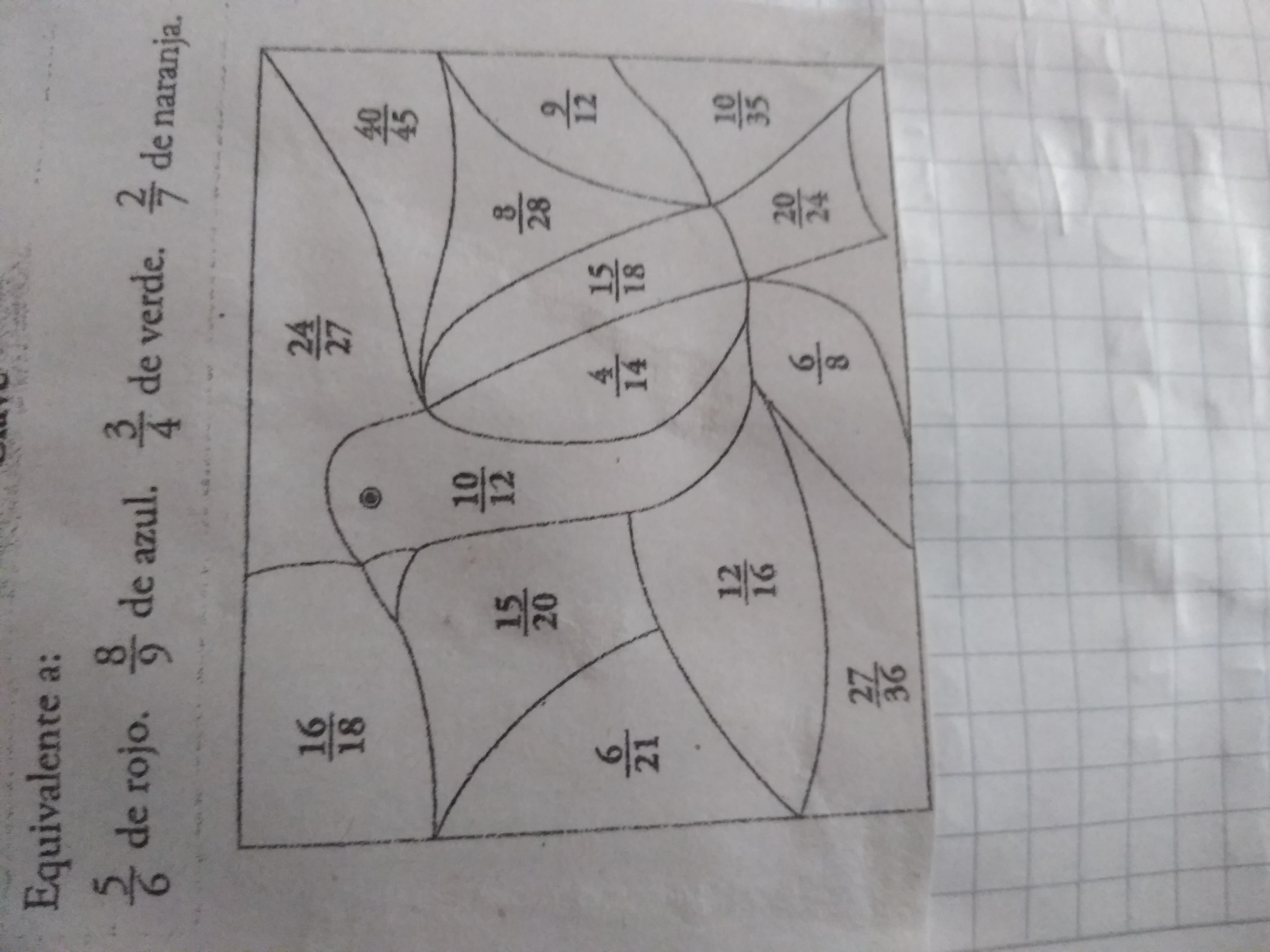 Colorea Las Fracciones Equivalentes A Las Fracciones Dadas