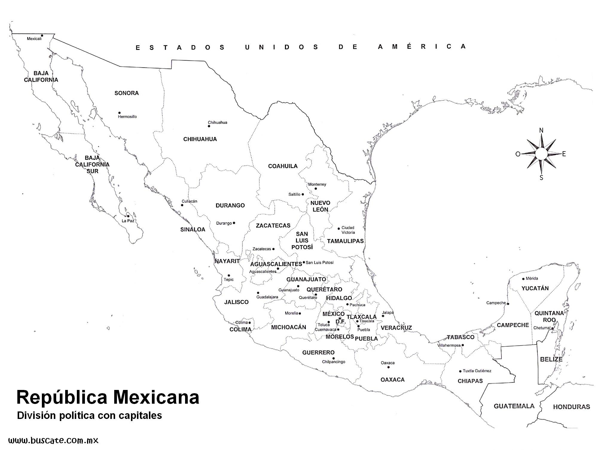 Mapa De La Republica Mexicana Con Nombres De Los Estados Ayuda