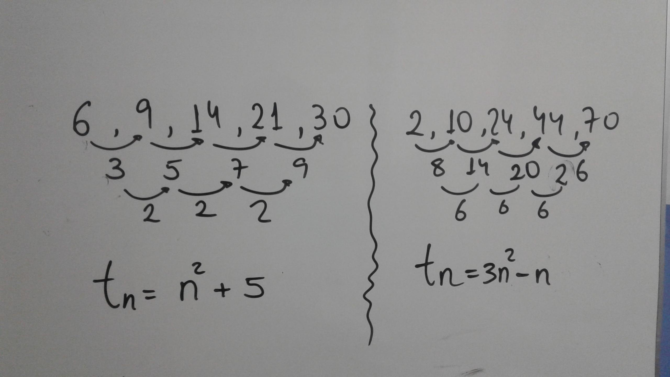 Cual es la regla de la siguiente sucesión numérica cuadrática: 6, 9 ...