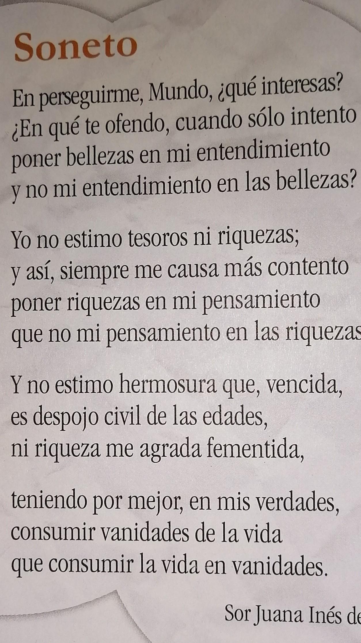 Señala Las Sinalefas Del Poema Soneto De Sor Juana Inés De