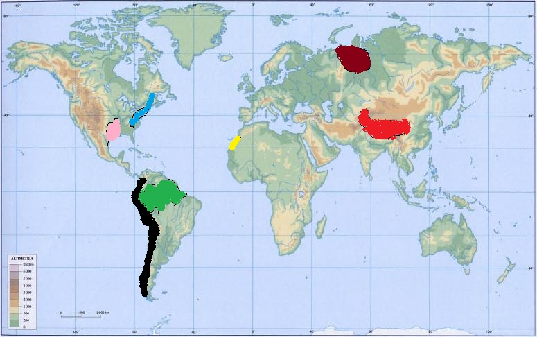 localizar en el mapa mundo fisicoala cordillera de los andesbla