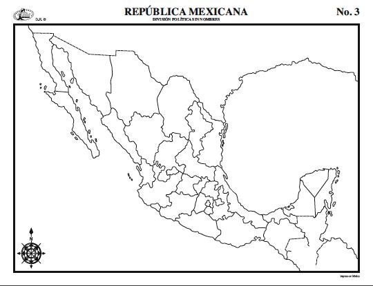 Mapa De La Republica Mexicana Sin Nombres Ayuda Porfa Brainlylat