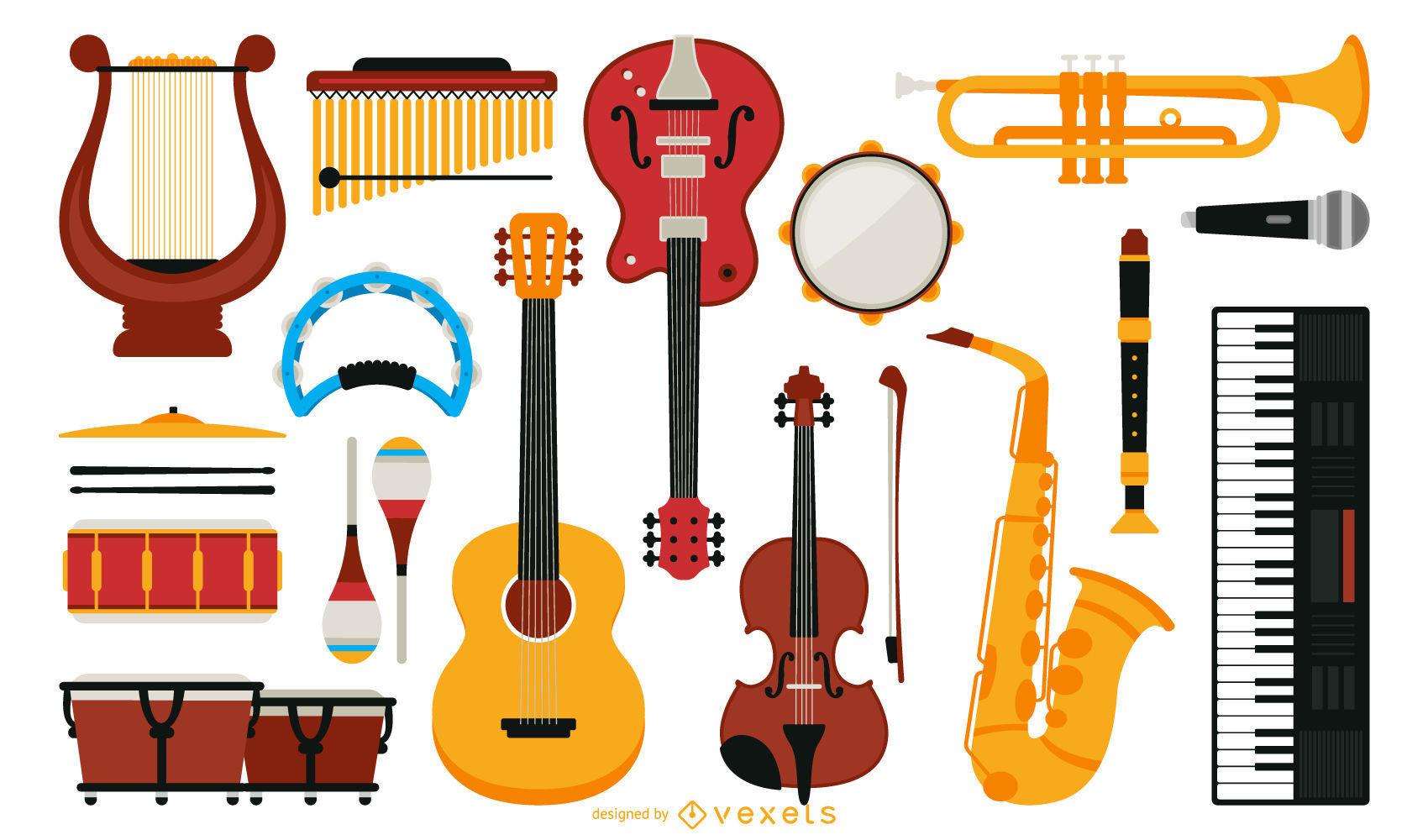 Dibujos De Instrumentos Musicales A Color Brainlylat