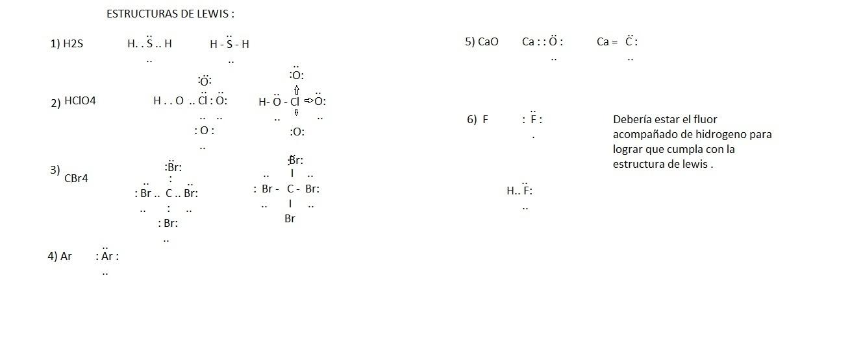 Estructura De Lewis H2s Hclo4 Cbr Ar Cao F Brainly Lat