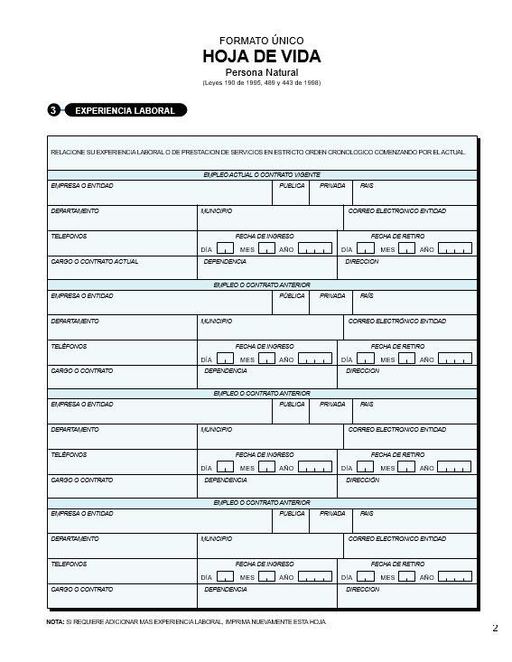 formato hoja de vida curriculum vitae formato minerva 10-00