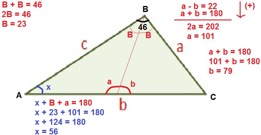 En un triangulo ABC escaleno, de angulo B=46 y su bisectriz forma ...