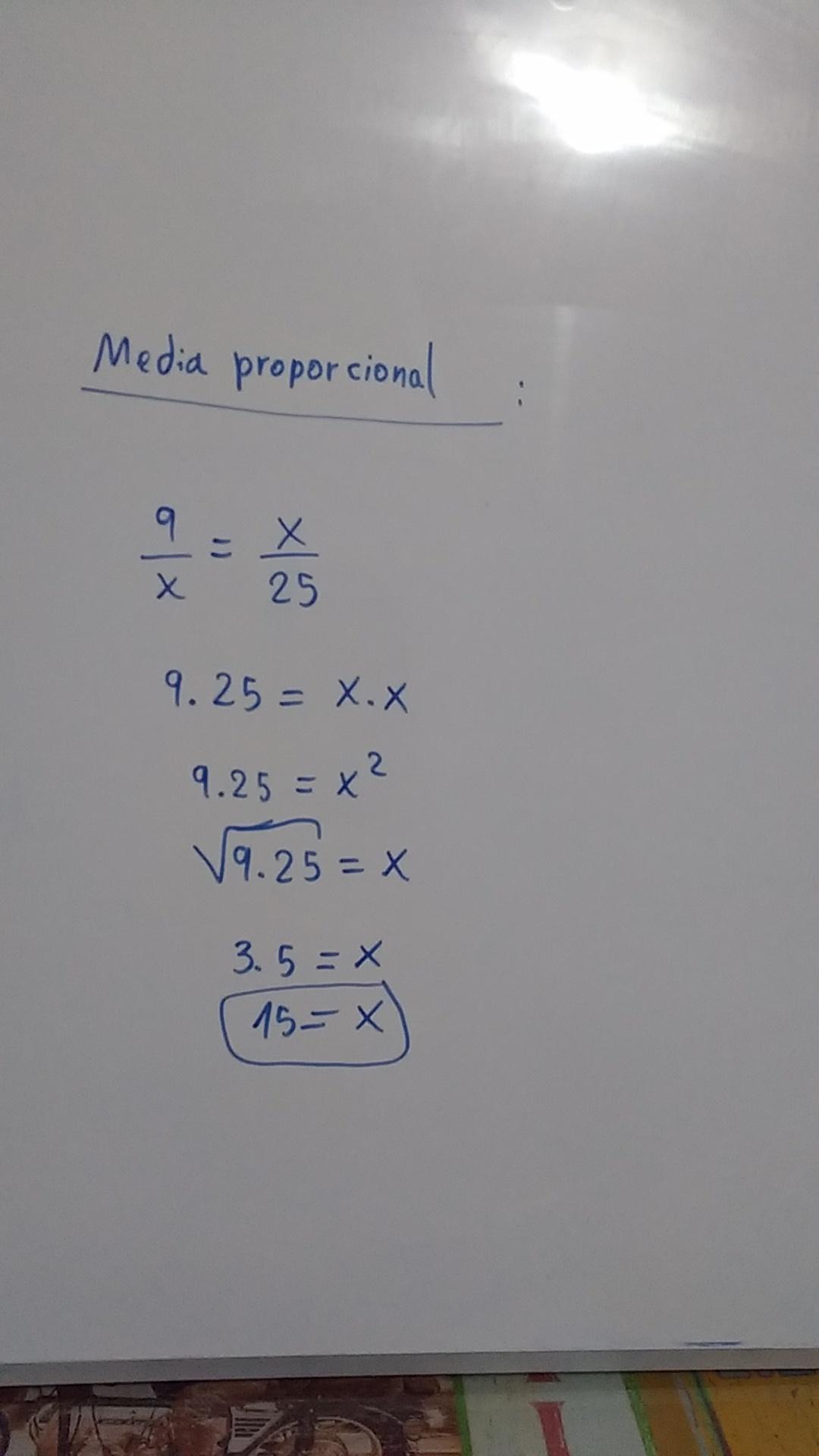 Determinar la media proporcional de 9 y 25 - Brainly.lat