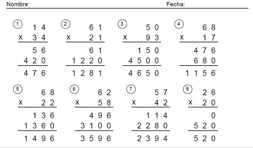 10 Multiplicaciones Por 2 Cifras Y 6 Dígitos En El Factor Superior