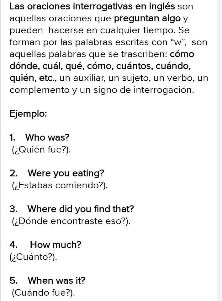 5 oraciones interrogativas en español e ingles - Brainly.lat