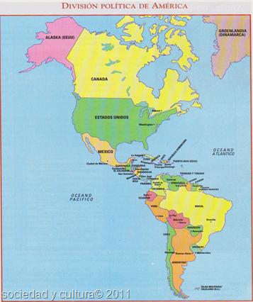 PAISES DEL CONTINENTE AMERICANO OCEANOS Y LINEAS IMAGINARIAS