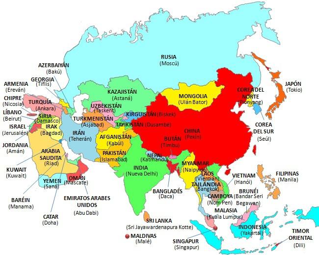 Necesito un mapa de asia donde indique donde se encuentra china