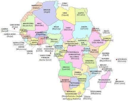 mapa politico de africa con sus paises y capitales  por favor