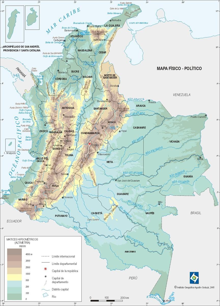 mapa de llanuras colombia