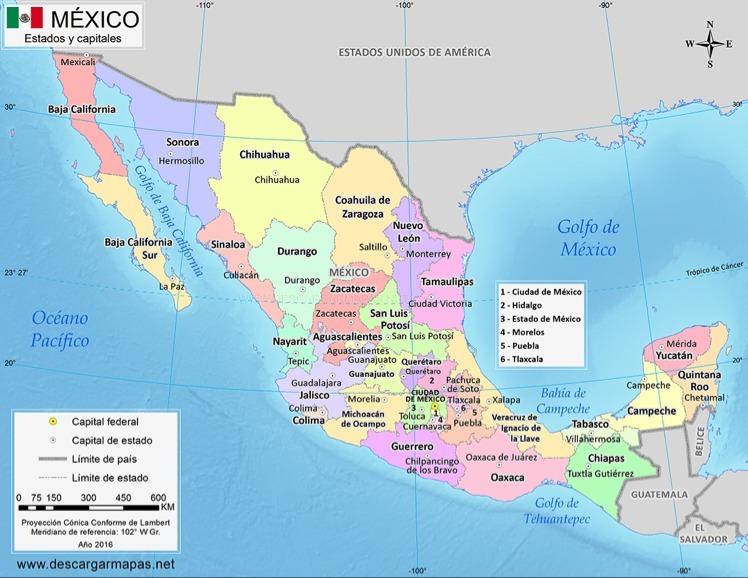 Mapa De La Republica Mexicana Con Nombres A Color Brainlylat
