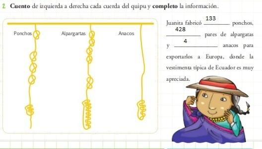 6591618e9853f4 Cuento de izquierda a derecha cada cuerda del quipu y completo la  informacion