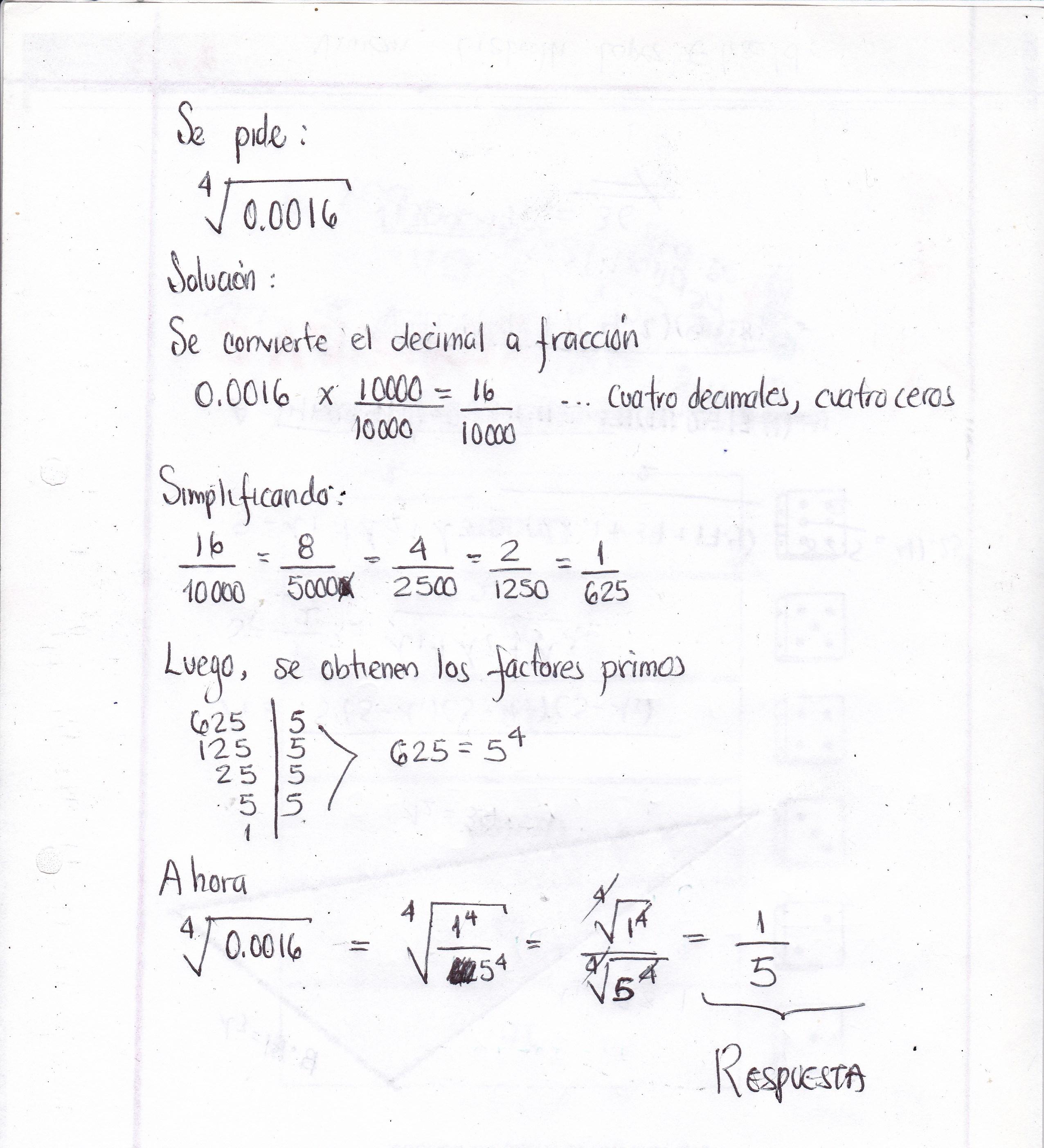 CALCULA RAIZ CUARTA DE 0,0016 - Brainly.lat