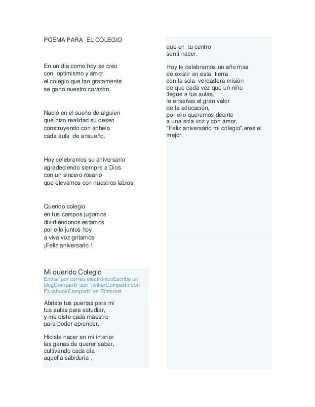 Poesia Al Colegio De 5 Estrofas Y 4 Versos Brainlylat