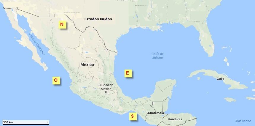 Mapa De La Republica Mexicana Dividido En Norte Sur Este Y Oeste