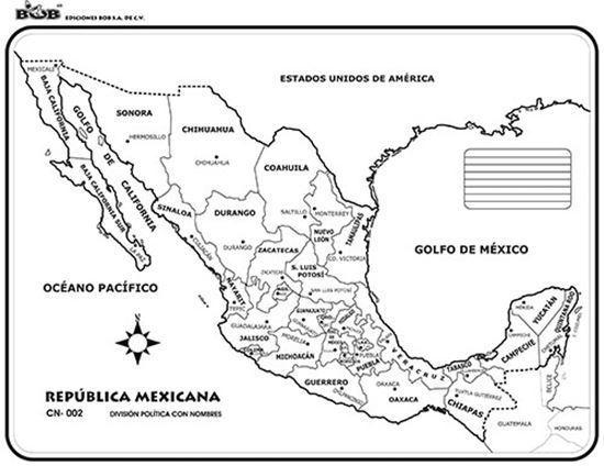 Mapa De La Republica Mexicana Con Nombres Y Division Politica Tamaño