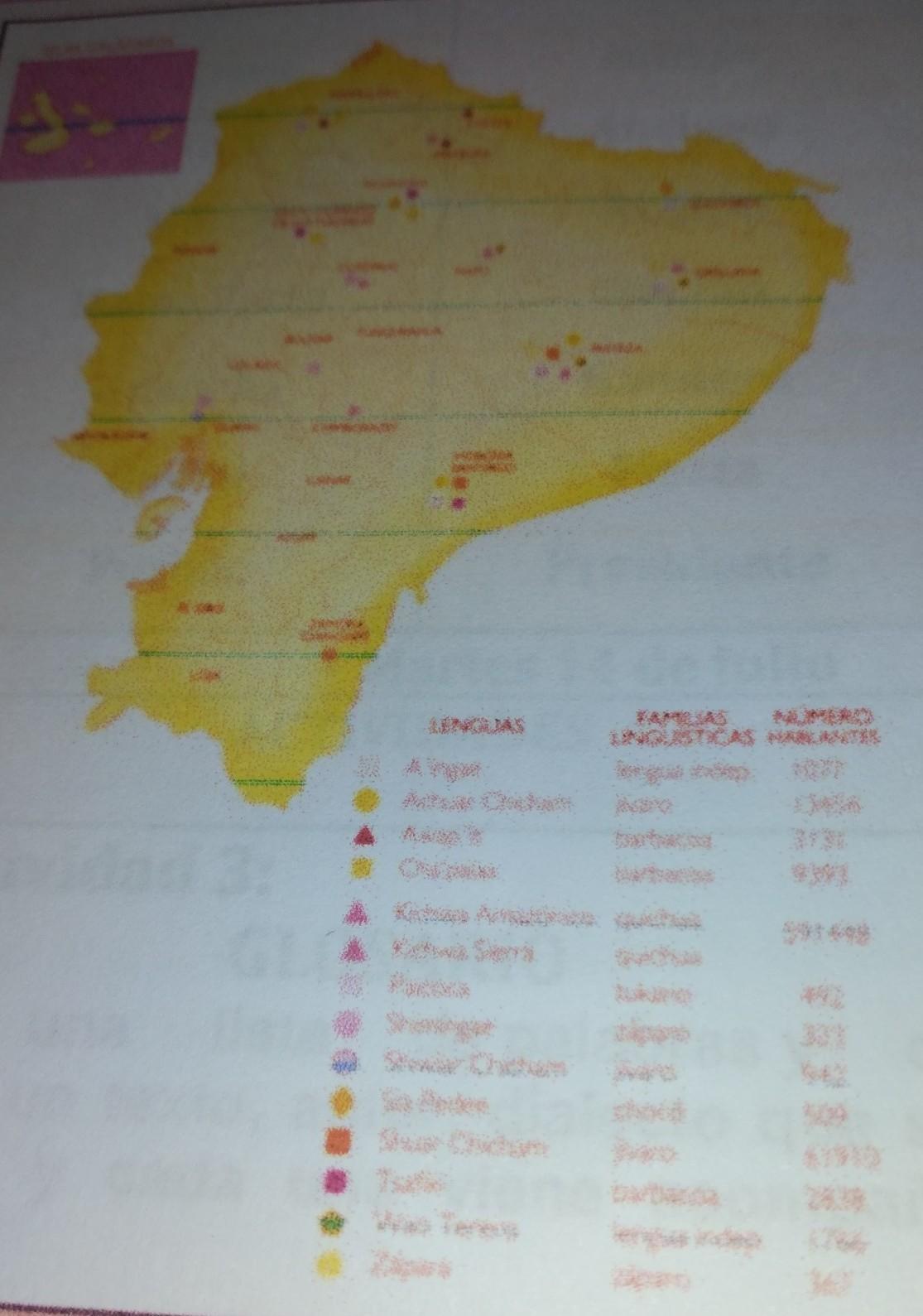 Observa El Mapa Del Ecuador E Identifica Cuáles Son Las Lenguas Que Idiomas Existen Actualmente En Brainly Lat