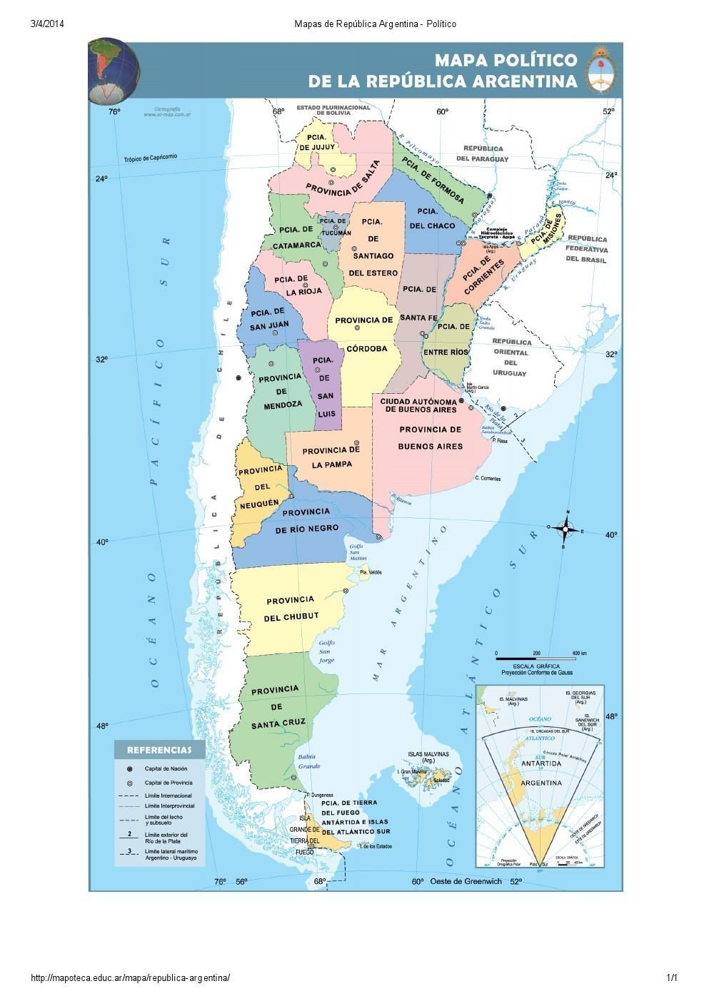 Mapa Politico De Argentina Provincias Y Capitales Alguien Sabe