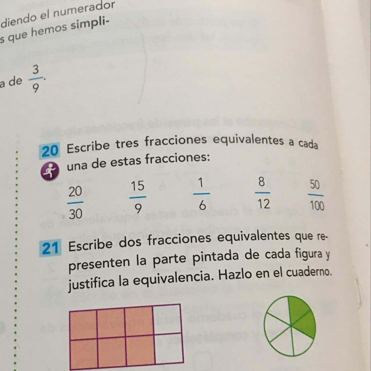 Decirme 3 Fracciones Equivalente A20 30 15 9 1 6 8 12 Y 59 100 Brainly Lat