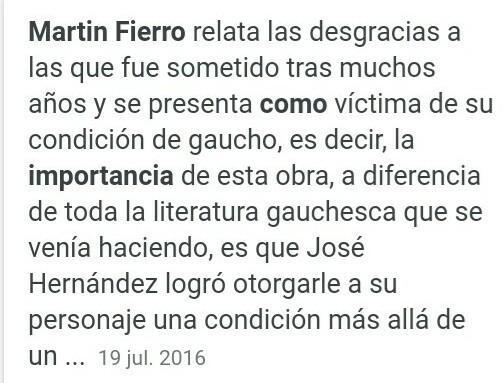Cual Es La Importancia Del Martin Fierro Brainly Lat