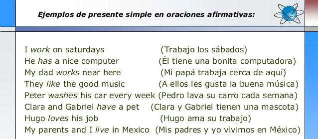 Oraciones Afirmativa En Presente Simple Ingles Y Español