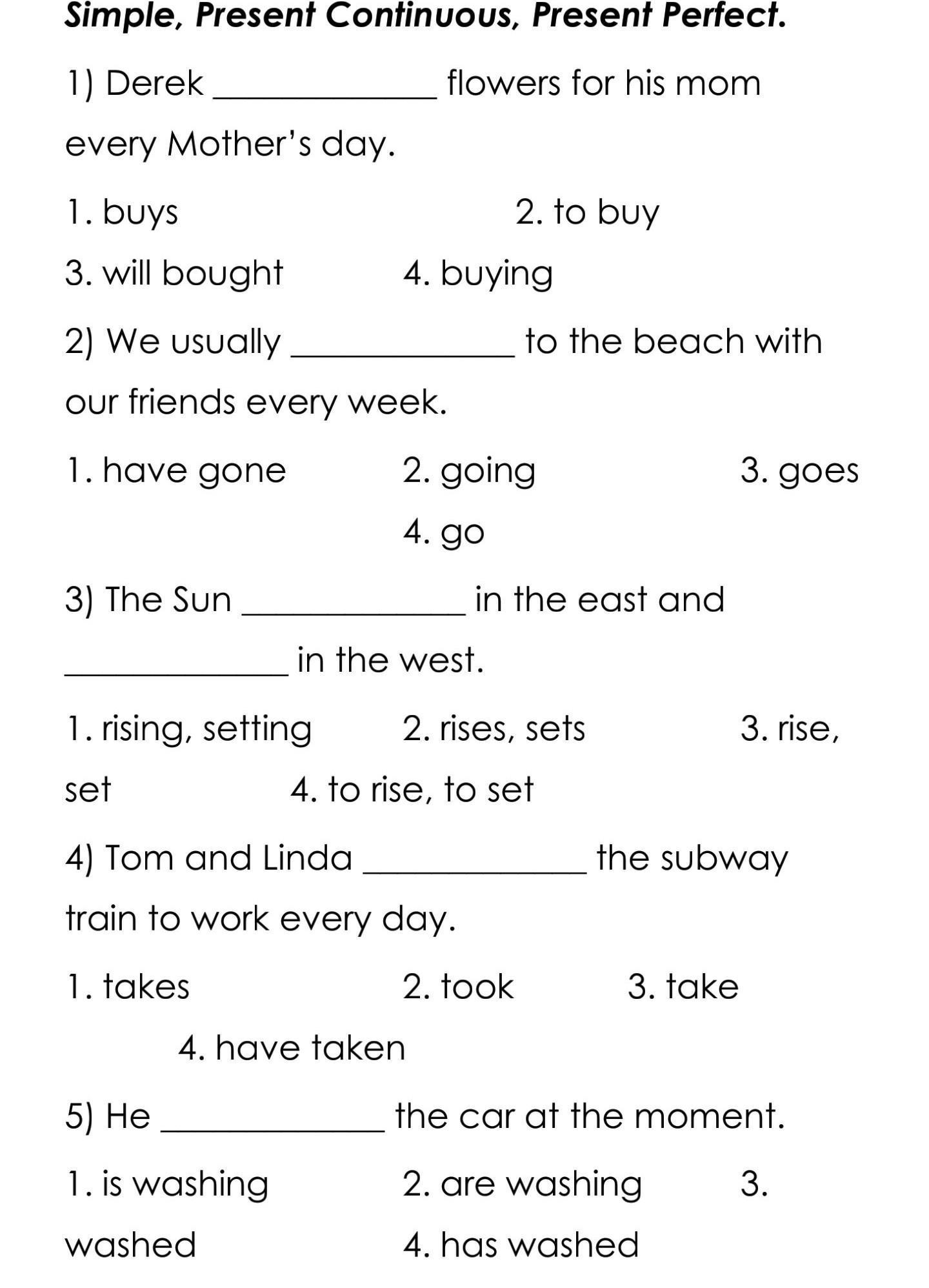 Inglés Present Simple Present Continuous Present Perfectayudaa Necesito Responder Estos Brainly Lat