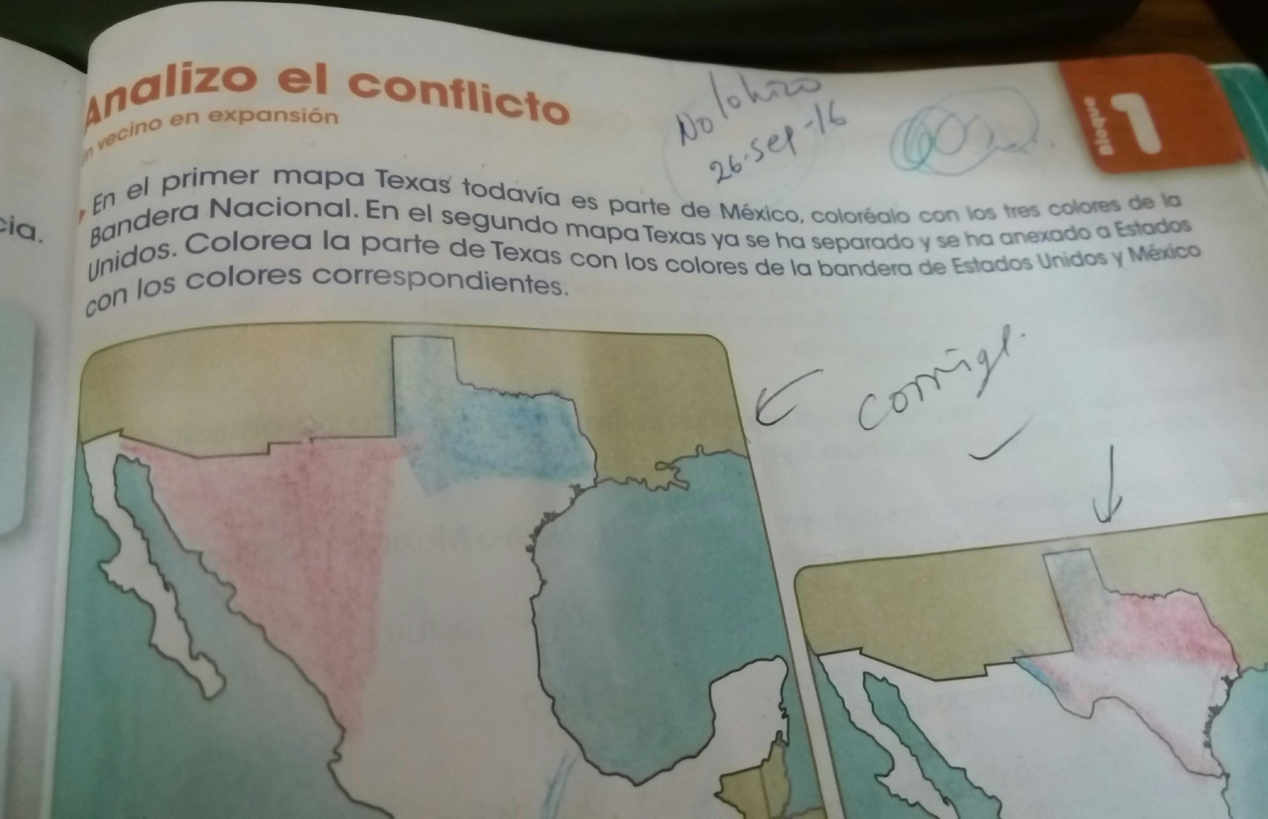 en el primer mapa de texas todavia es parte de mexcio colorealo con ...