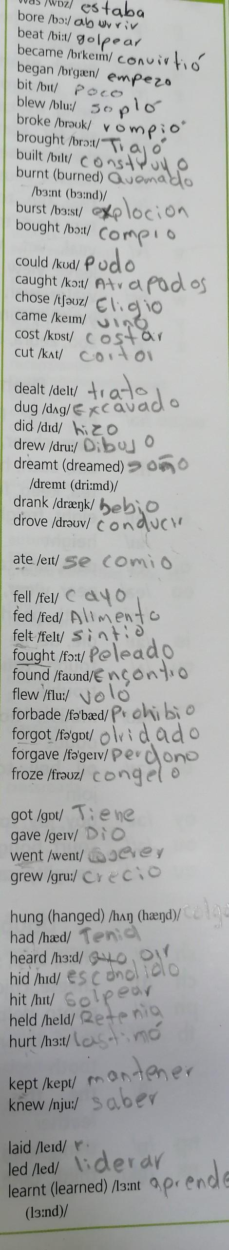 Usando Cada Verbo De La Lista Pasado Simple En La última