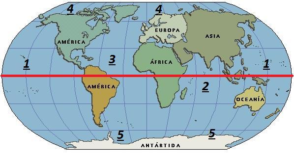 ubicacion de continentesoceanosmeridianos y paralelos  Brainlylat