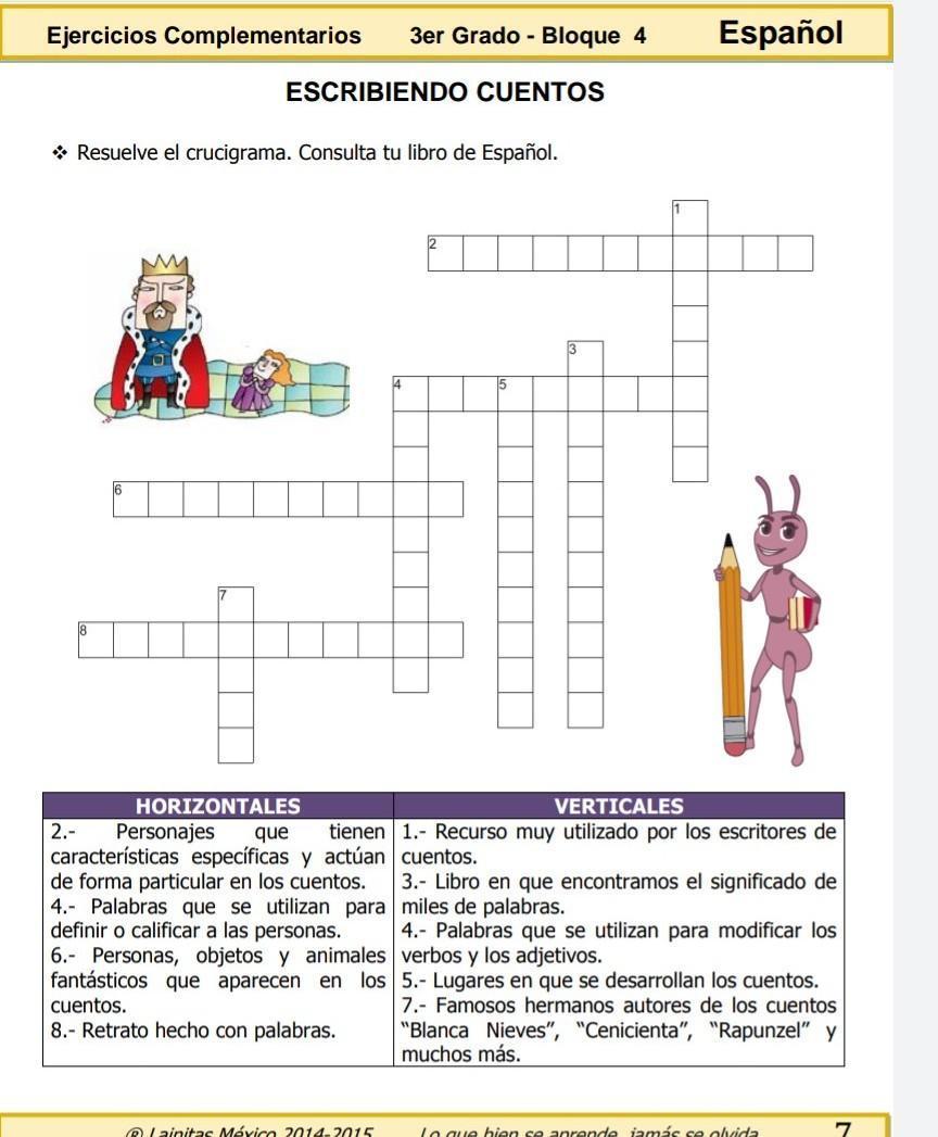 Respuesta Del Crucigrama Cuentos Y Mas Cuentos Ejercicios Complementarios 3er Grado Bloque 4 Brainly Lat