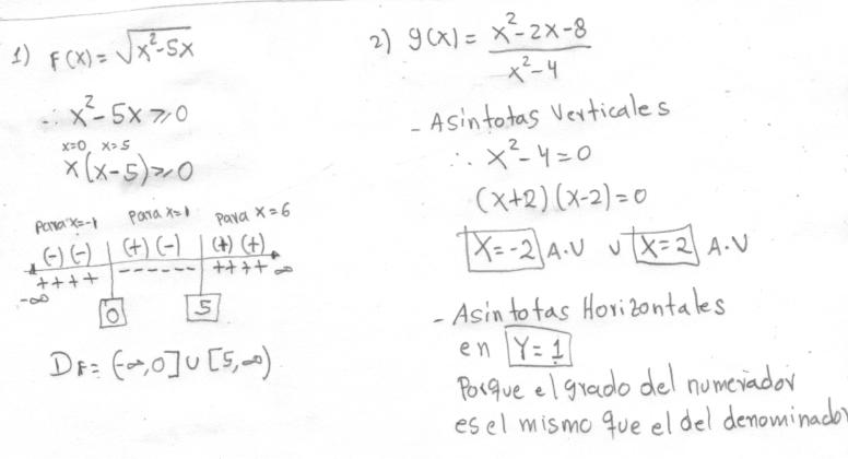 cual es el dominio de: raiz cuadrada de X^2 -5X y como hayo las ...