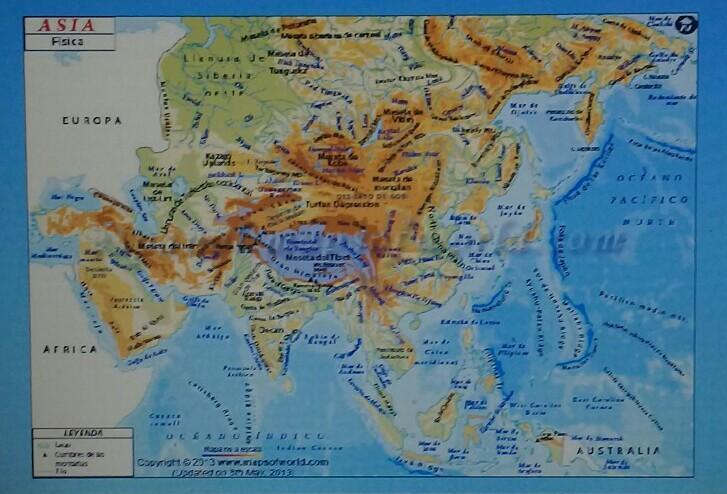 Mapa De Asia Fisico.El Mapa Fisico De Asia Brainly Lat