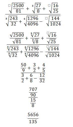 raiz cuadrada de 2500/81 + raiz cubica de 27/8 + raiz cuadrada de 16 ...