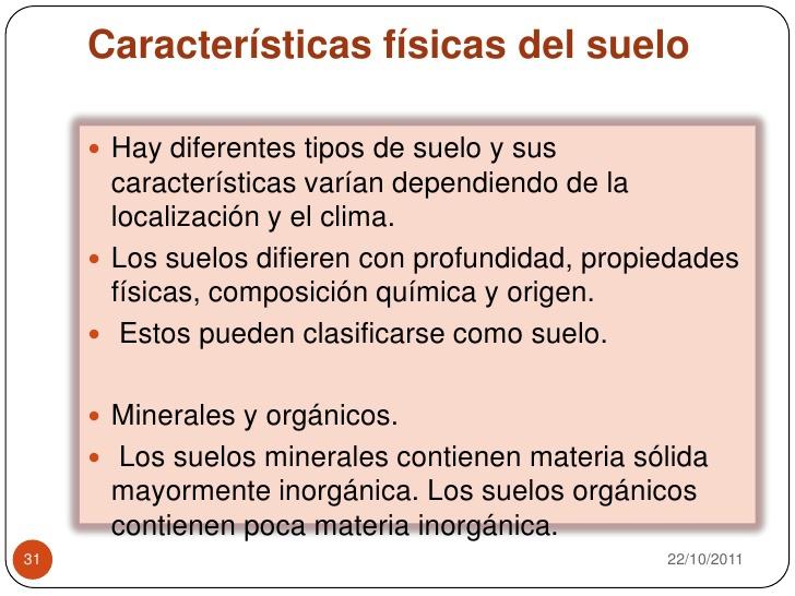 cuales son las caractteristica del suelo