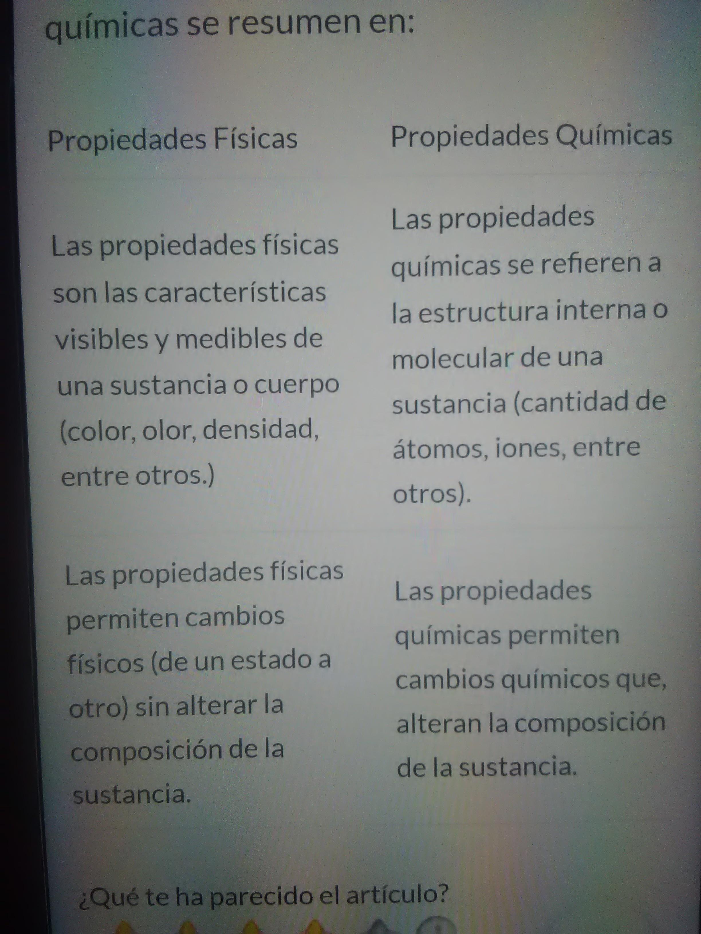 Cuadro Comparativo Entre Las Propiedades Fisicas Y Las
