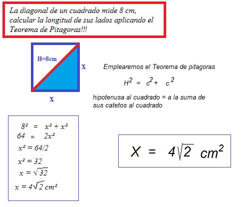 La Diagonal De Un Cuadrado Mide 8 Cm Calcular La Longitud De Sus Lados Aplicando El Teorema De Brainly Lat