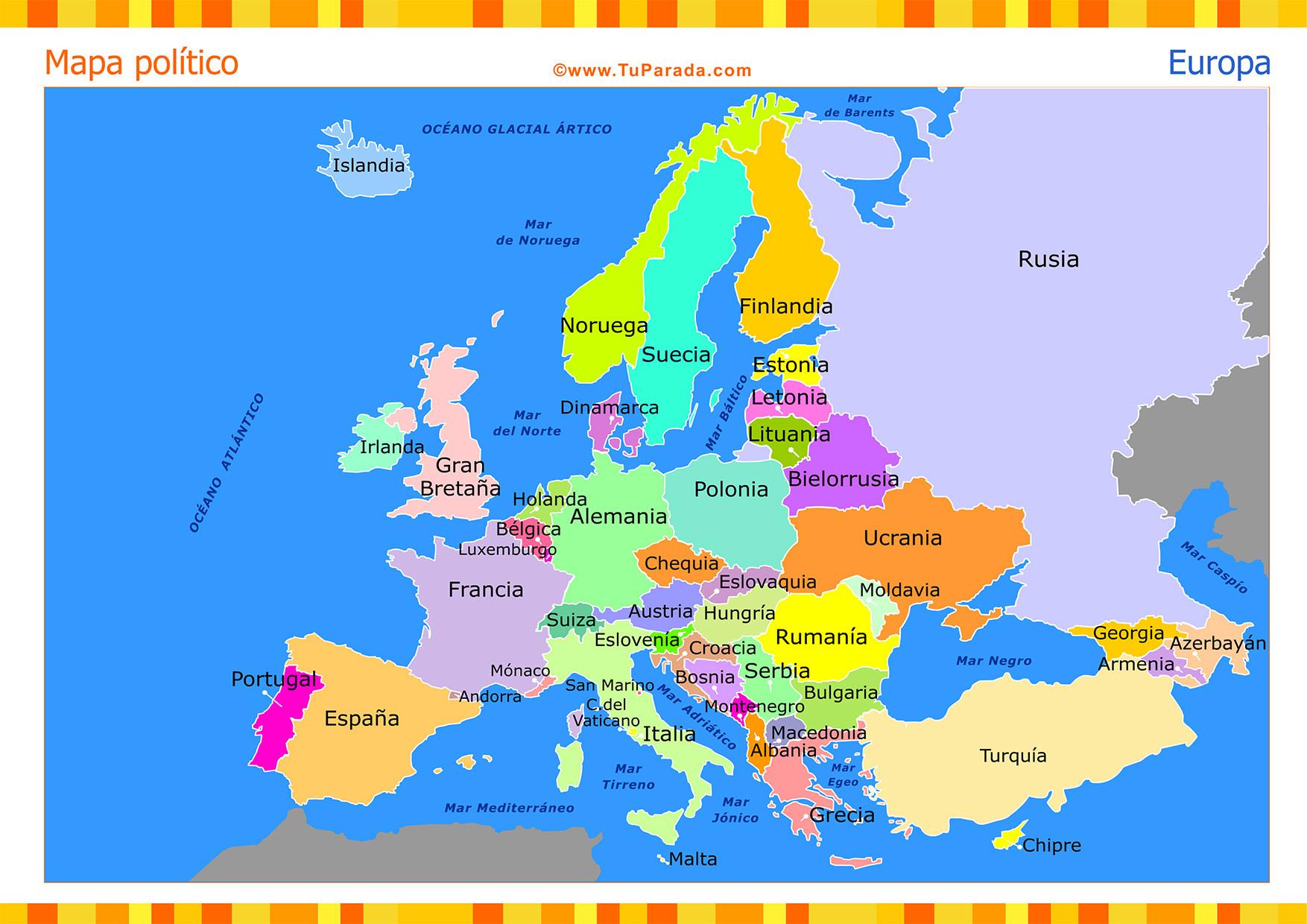Mapa Europa En Español.Mapa De Europa Con Division Politica Y Nombres En Espanol