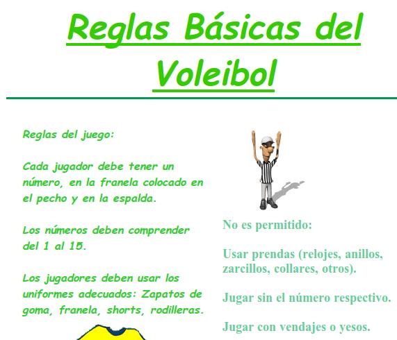 10 reglas basicas de volleyball