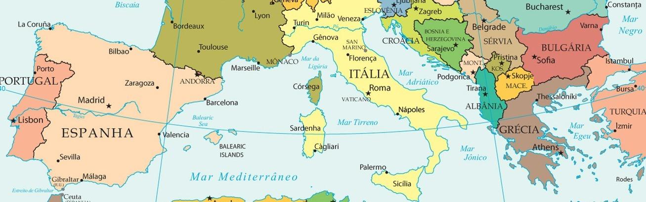 Mapa Del Mar Mediterraneo.Mapa De Europa Con La Peninsula Iberica Peninsula