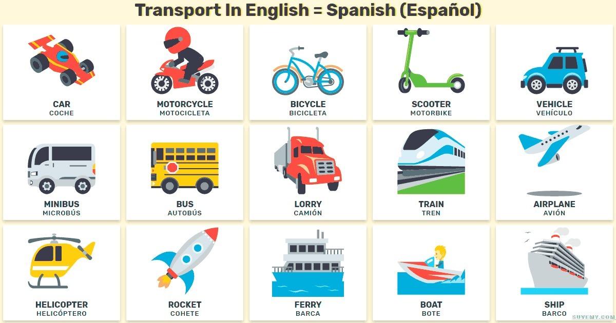 20 medios de transporte en ingles y espa ol - Nombres clasicos espanoles ...