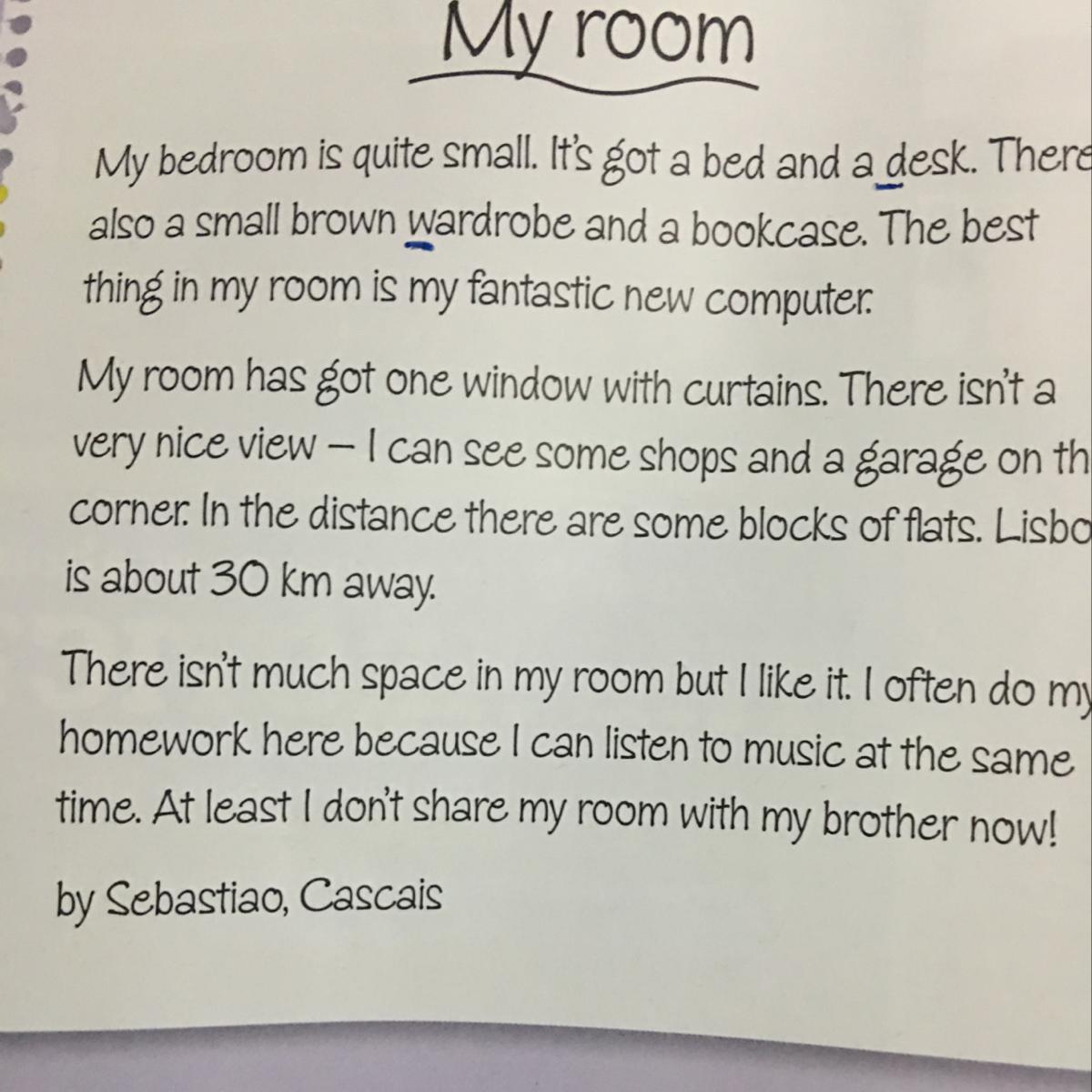 SÚPER URGENTE !!! Hacer una descripción de un cuarto en inglés ...