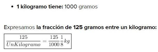 Convertir kilogramos a gramos ejemplos