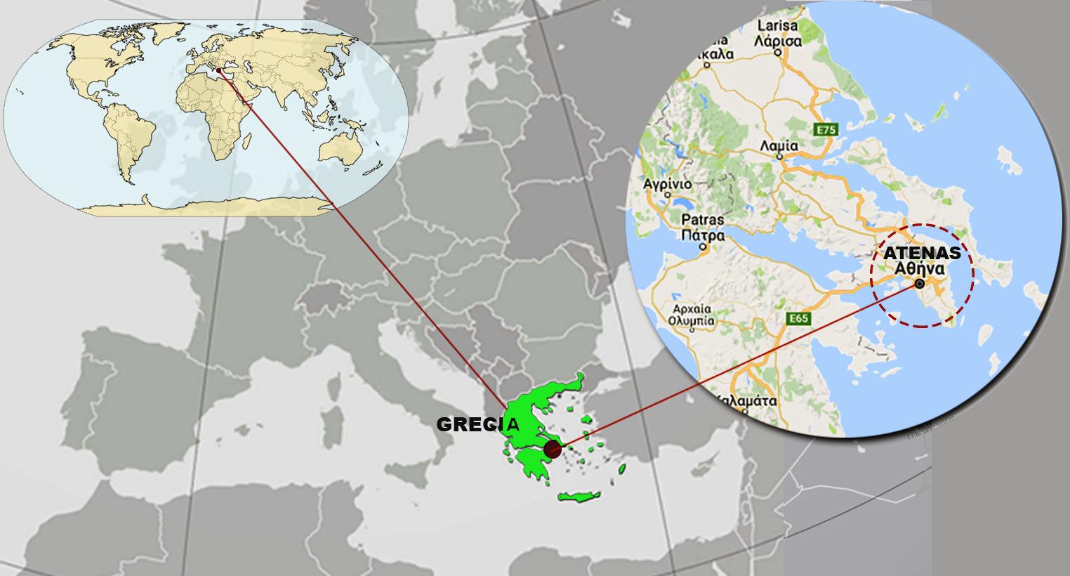 grecia mapa mundo 1. En un mapamundi ubica a Grecia y, en específico, a Atenas  grecia mapa mundo