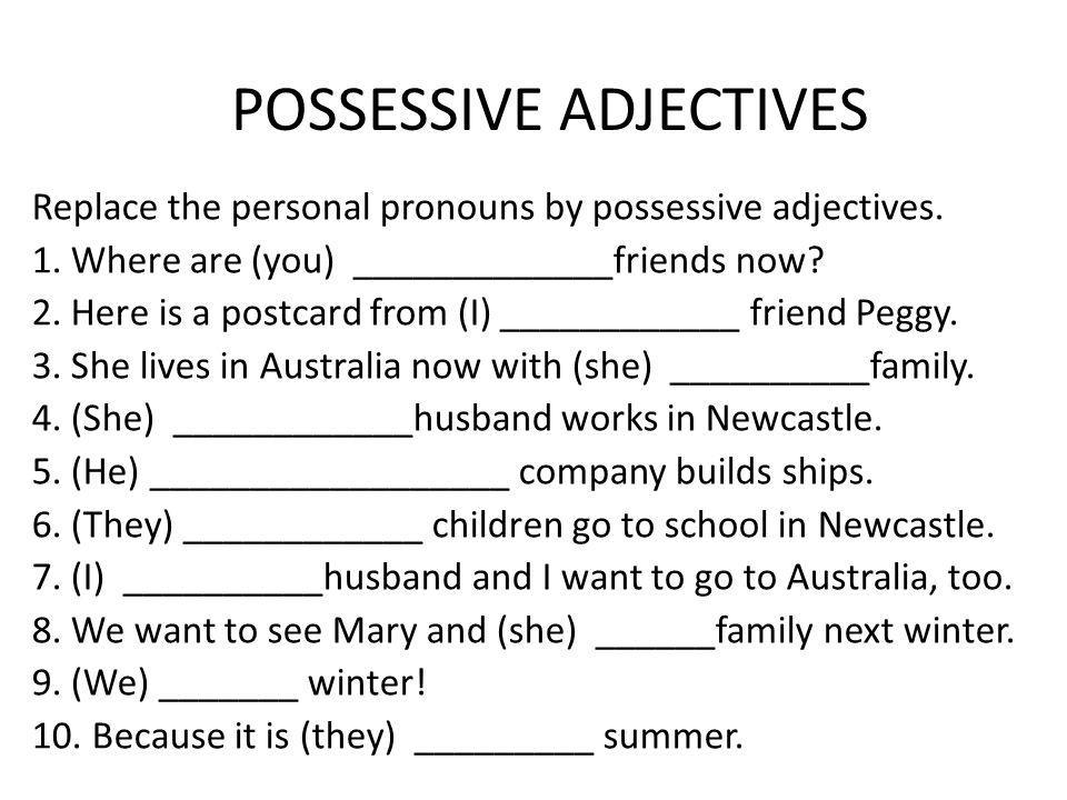 Ejercicios De Possessive Adjectives And Pronouns Brainly Lat