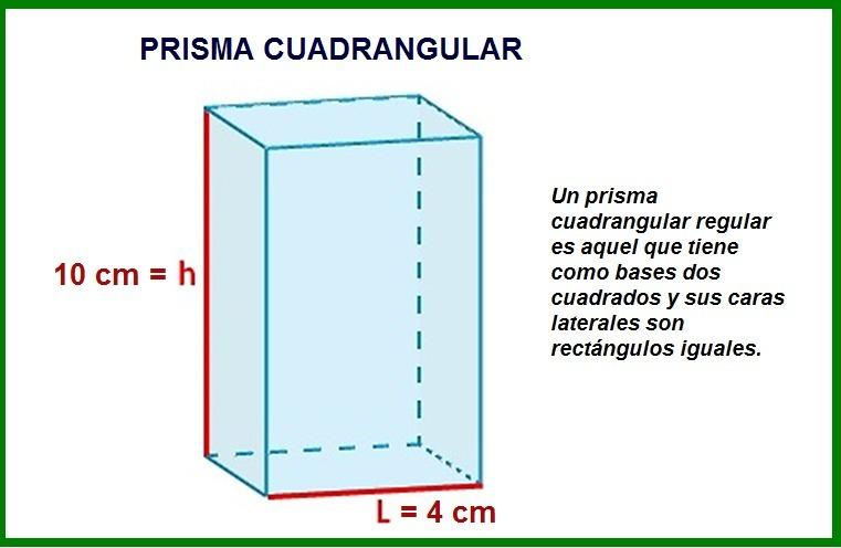 cual es el area lateral, total, y volumen de un prisma