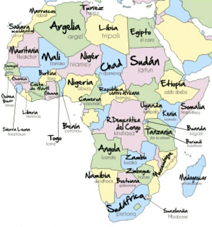 Mapa De Africa Paises.Mapa De Africa Con Paises Y Capitales Muchas Gracias