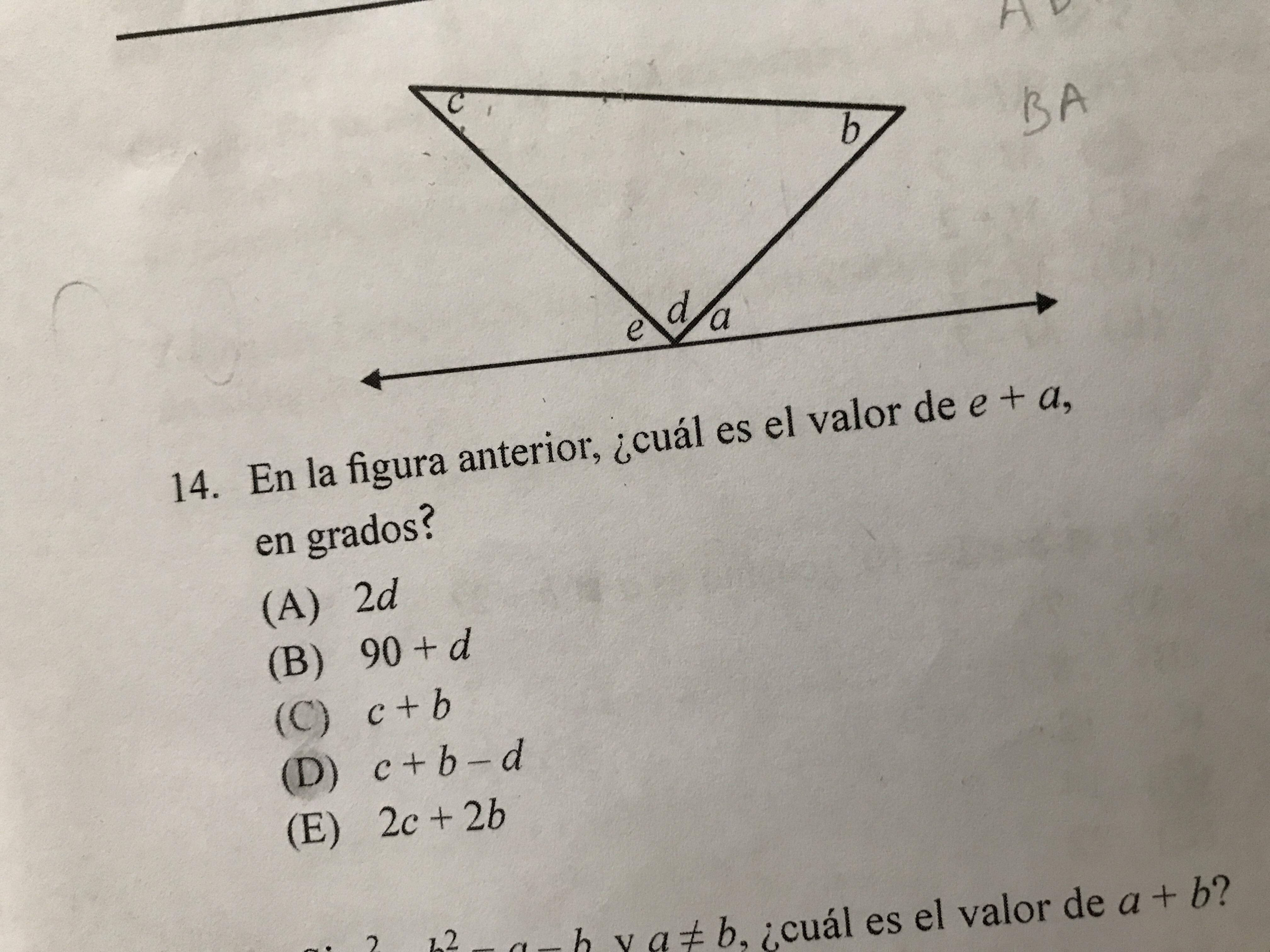 En la figura anterior ¿cuál es el valor de a + b en grados ... 76b434bd42